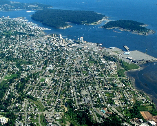 Wide-area photo of Nanaimo, British Columbia